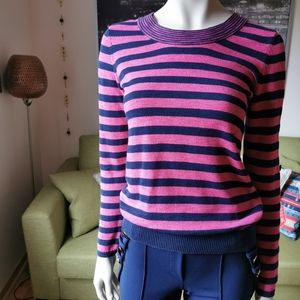 Boat neck US S knit sweater pink blue
